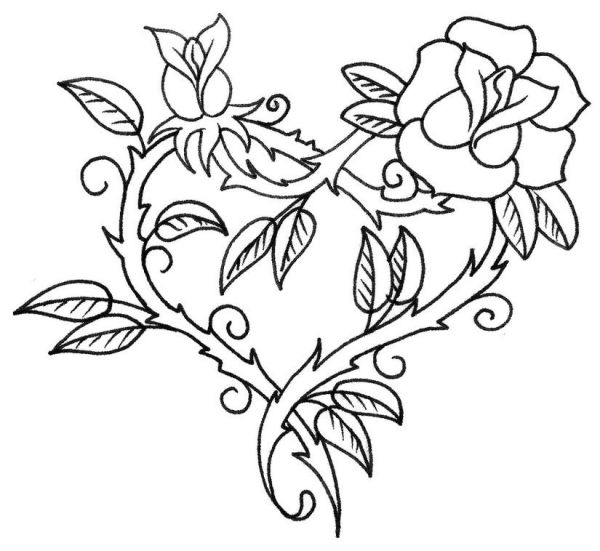 desenho de flores coraçaão