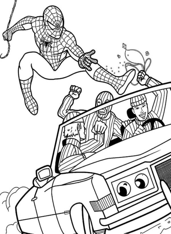 Desenhos do Homem aranha abolindo o crime