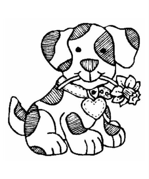 Imagem com desenho  para pintar um cachorro lindo e super fofo