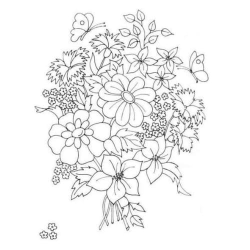 Imagem com desenho de flores para colorir e imprimir