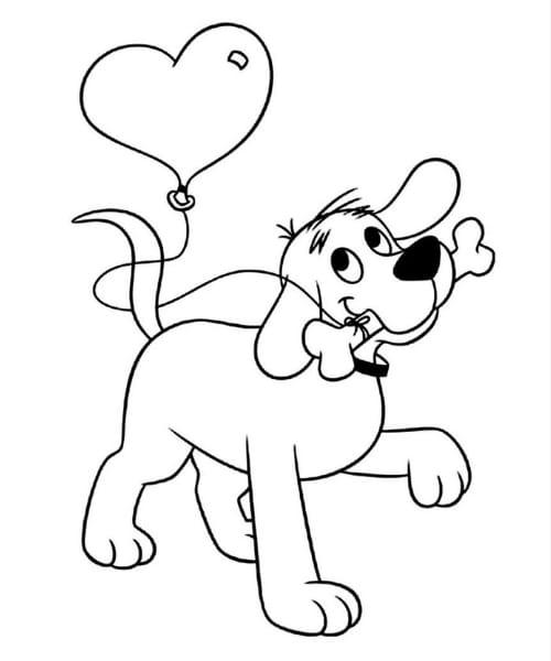 Imagem de cachorro fofo para as crianças colorir e se divertir