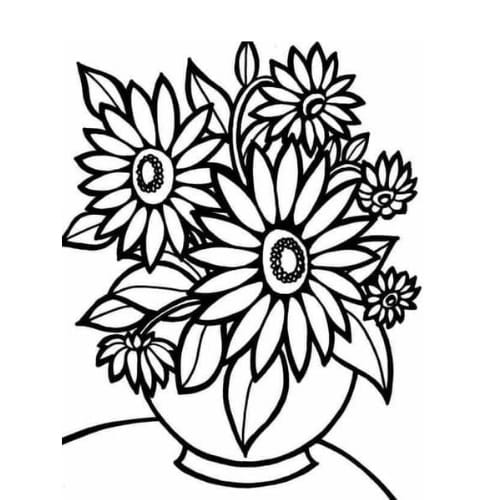 Desenho delicado de flor delicada para pintar e imprimir