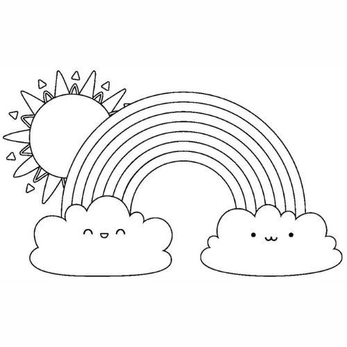 Desenhos de Arco-íris Sol e Nuvens amigas