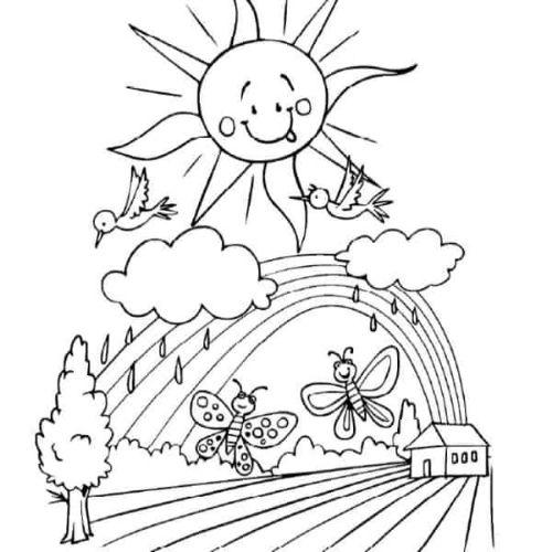 Desenhos de Arco-íris Sol e Nuvens brilhante