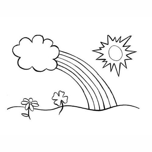 Desenhos de Arco-íris Sol e Nuvens bonito