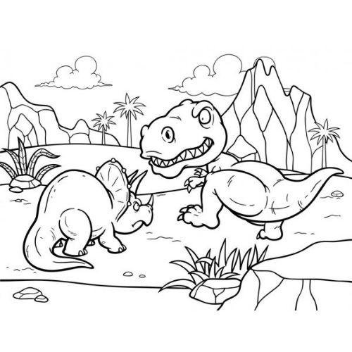 dinossauros para colorir briga de território