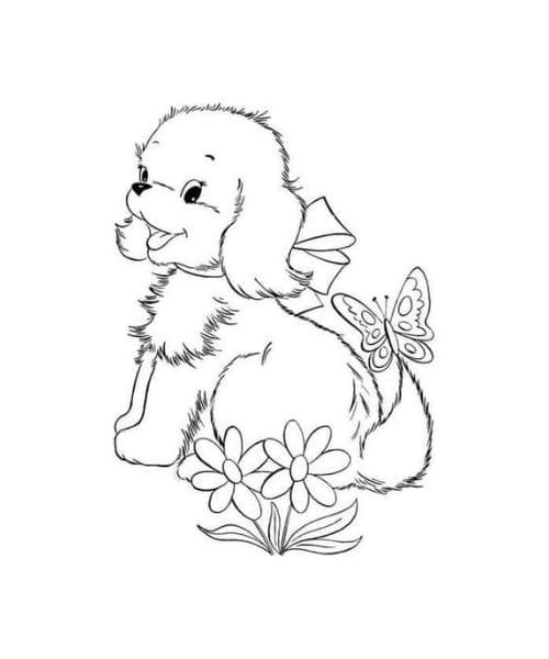 Imagem fofa de cachorro para pintar