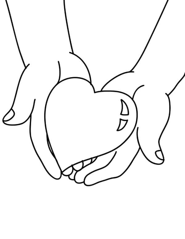 Desenhos de coração para colorir alegre