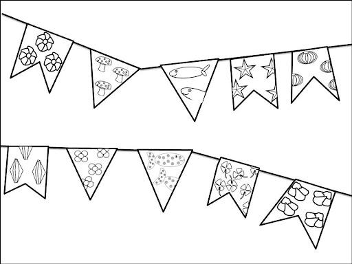 Desenhos de festa junina para colorir bandeiras
