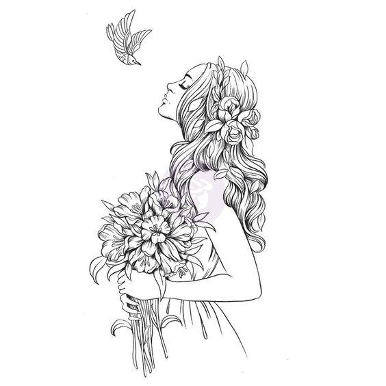 Desenho mulher com flores