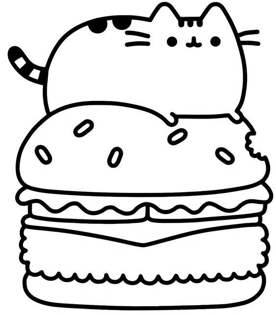Gato com hambúrguer kawaii
