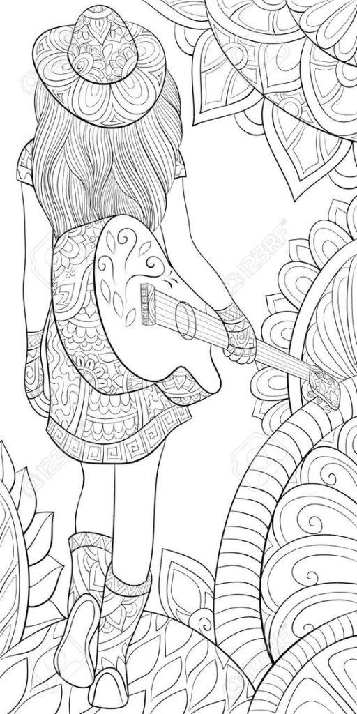 Desenho mulher com violão
