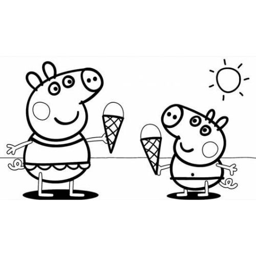 peppa pig para colorir sorvete e piscina