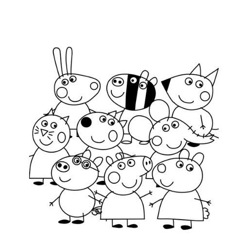 peppa pig para colorir e seus amigos