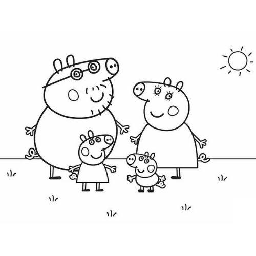 peppa pig e família para colorir