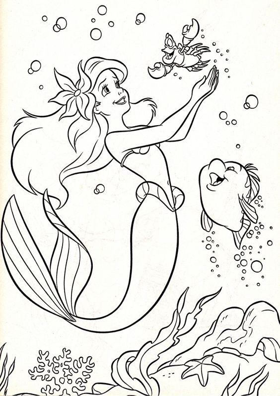 Pequena sereia para colorir