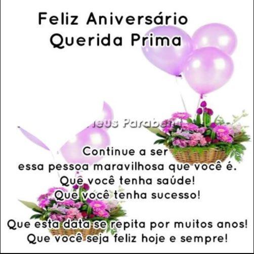 Feliz aniversário querida prima