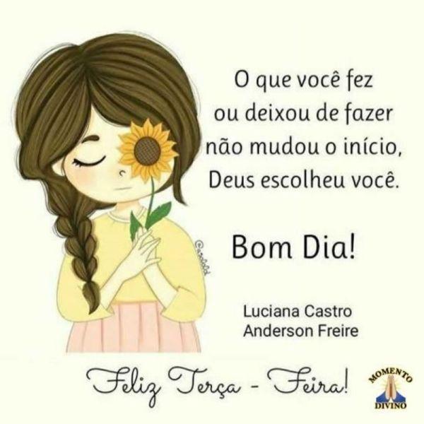 mensagem de bom dia terça feira menina com flor no rosto