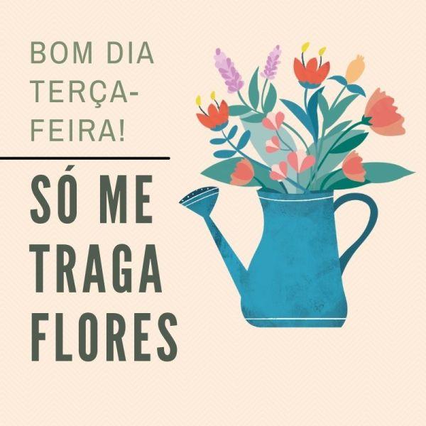 lindo vaso com flores mista de bom dia terça feira