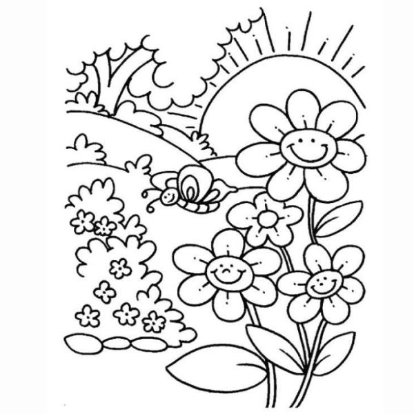 Desenho de flores e borboleta para colorir e pintar