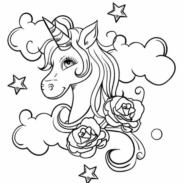 Desenho de unicórnio e flores para colorir