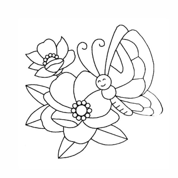 Dê um lindo colorido a flor e a borboleta