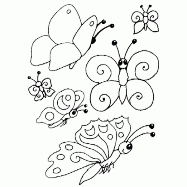 Desenho pronto para colorir e se divertir com as borboletas