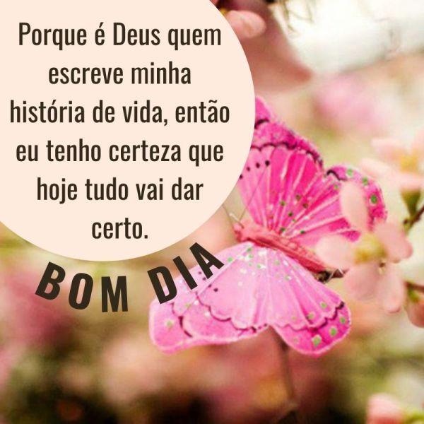 Bom dia com borboletas e mensagem de Deus
