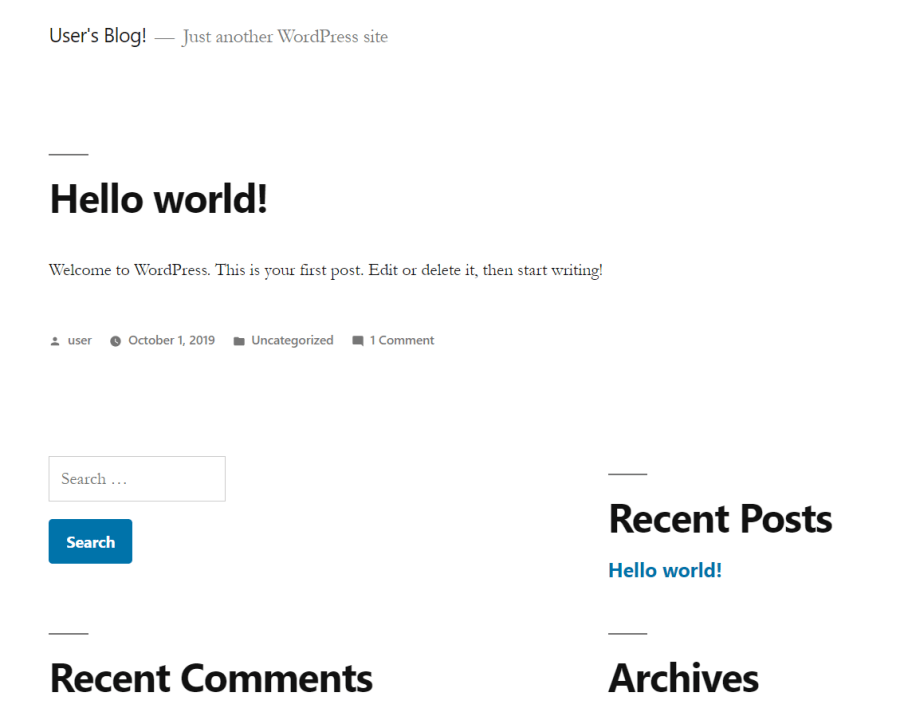 wordpress docker blog screenshot