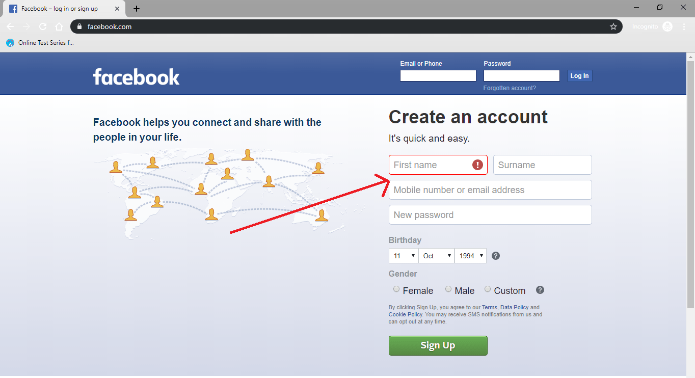How to open facebook account - Techwisdom.in