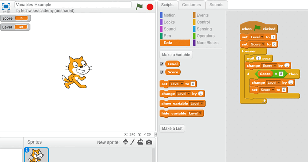 Example of using variables in Scratch