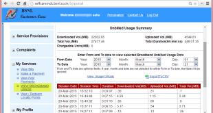 view broadband useage on bsnl