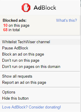 adblock whitelist channel