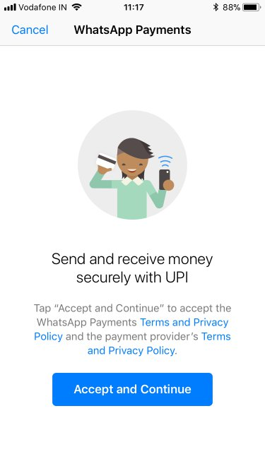 whatsapp UPI terms n policy