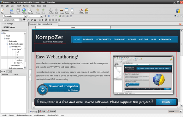 open html editor - KompoZer