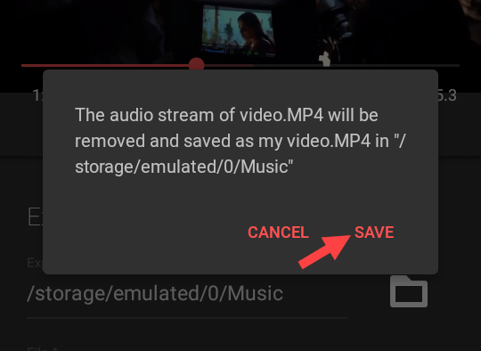 remove audio from video - tap save