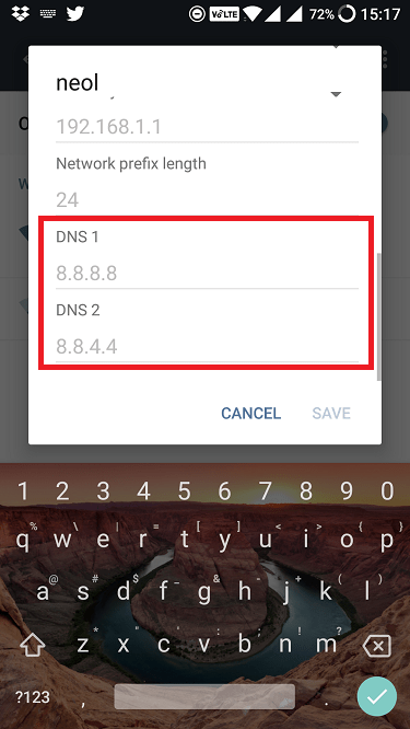 setting dns on android step 4