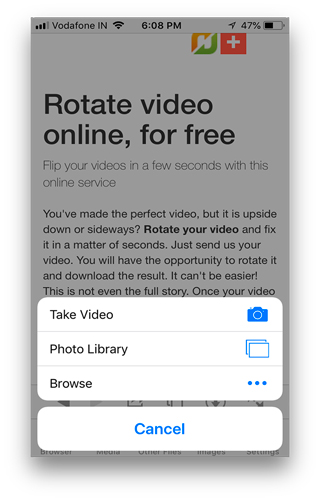3 ways to rotate video on iphone 2018 techwiser tap on pick video and choose your video from the photos app ccuart Image collections