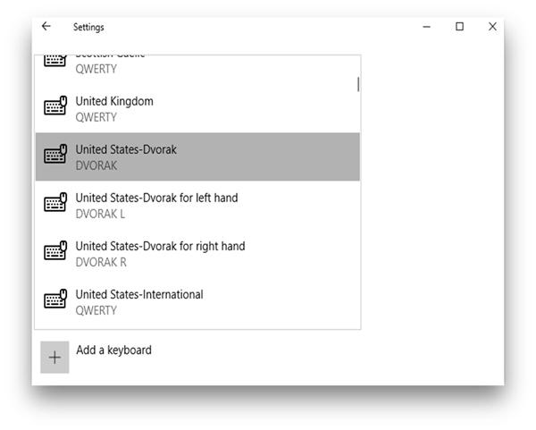 Dell keyboard not working- DVORAK window setting
