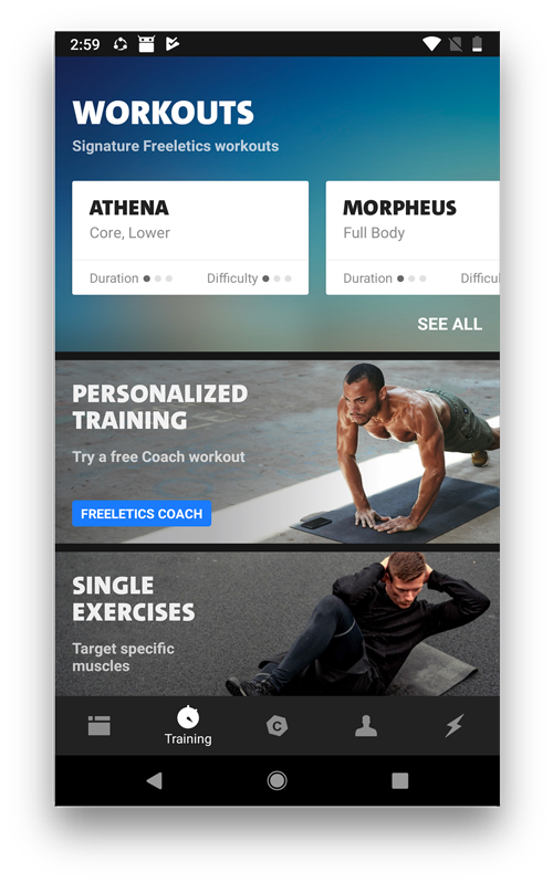 Freeletics- workout apps for android and ios