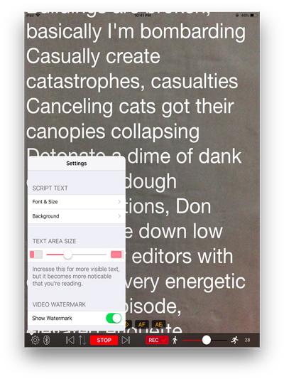 video teleprompter lite settings