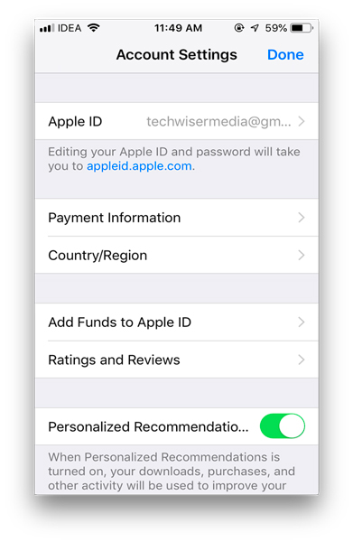 iOS settings