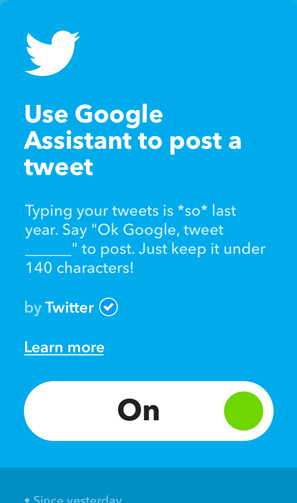 IFTTT Applets for Google Home- tweet this