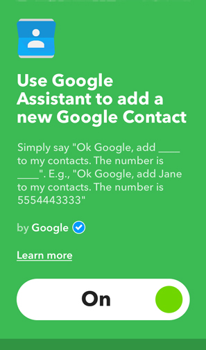 IFTTT Applets for Google Home- google contacts