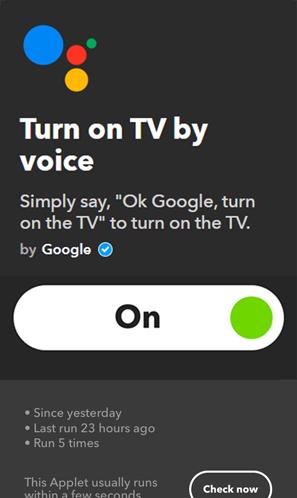 IFTTT Applets for Google Home- turn on tv