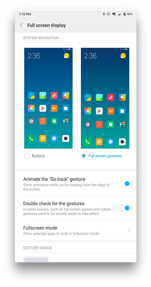 MIUI vs Stock Android- full screen gestures