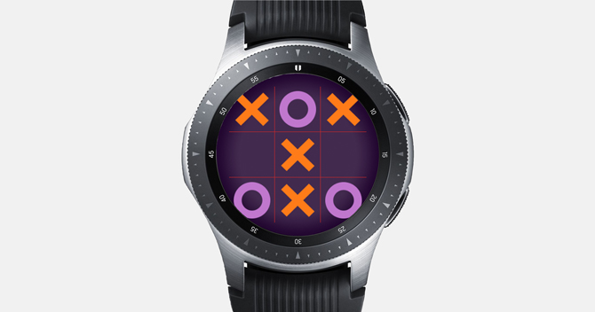 Screenshot of the Galaxy Watch with Tic Tac Toe. Three X and Three O's, match is draw.