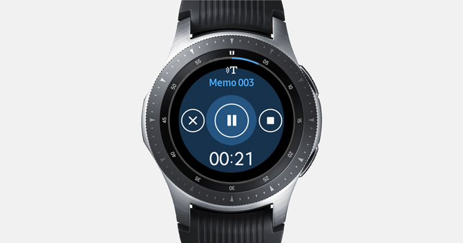 Screenshot of the Galaxy Watch with gear voice memo showing controls and time elapsed.