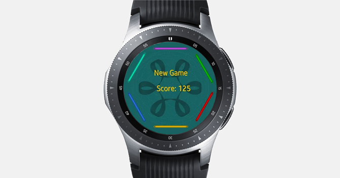 Screenshot of the Galaxy Watch with the Bazel Reflex Game and screen showing the game layout with High score.