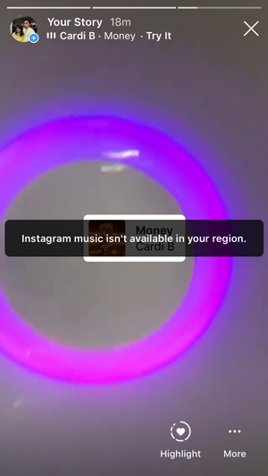 Instagram Music is not available in your region- not available
